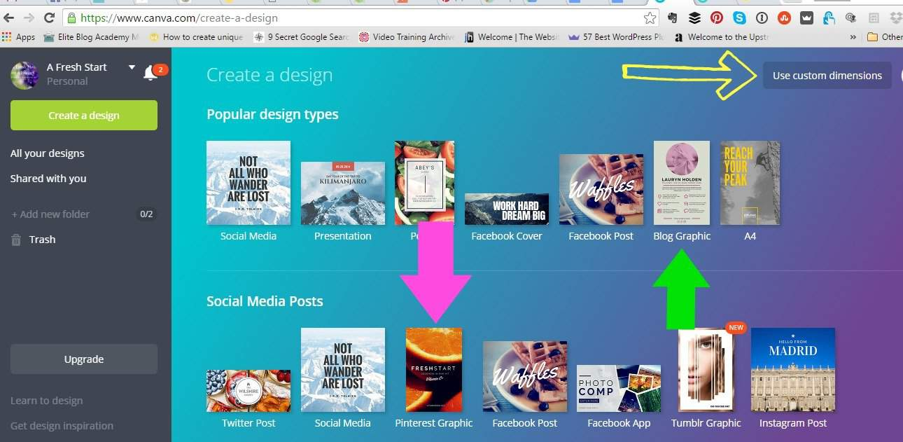creating Pinterest images with Canva